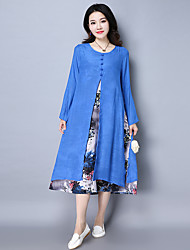 Sign 2017 spring new large size women's national wind Ink cotton fake two-piece dress skirt