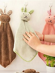 1Pcs  Kitchen Cartoon Animal Hanging Cloth Soft Plush Dishcloths Hand Towel