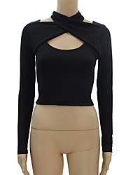 Women's Casual/Daily Sexy T-shirt,Solid Halter Long Sleeve Cotton