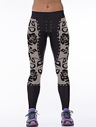 Women's Sporty Look Fashion Rose Print Breathable Quick Dry Compression Stretch Spring/Summer Sports Tights Pants Fitness Running Leggings