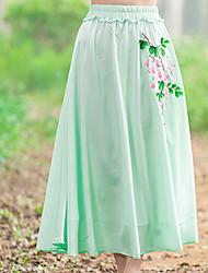 Damen Mittlere Hüfthöhe Ausgehen Midi Röcke A-Linie einfarbig Sommer