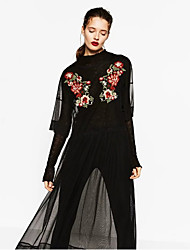 European and American big embroidered flowers ZA semipermeable gauze long smock dress fifth sleeve spring new wild