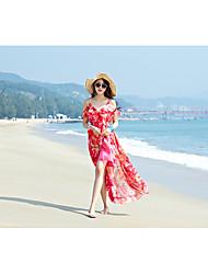 mousseline de soie vrai coup de modèle sans bretelles jupe mince fente mince station balnéaire bohème plage