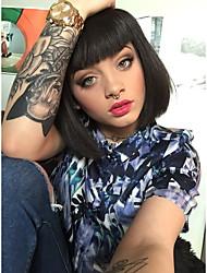 belle frange noire perruque synthétique cheveux bobo