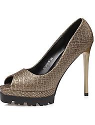 Damen-High Heels-Kleid-Leder-Stöckelabsatz-Komfort-Gold Schwarz Braun