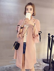 Women's Casual/Daily Simple Summer Fall Coat,Solid V Neck Long Sleeve Long Polyester