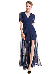 SUOQI Fashion Wild Short Sleeves V Collar Retro Wave Point Chiffon Big Open Fork Dress Party Cocktail Holiday Dating Dresses