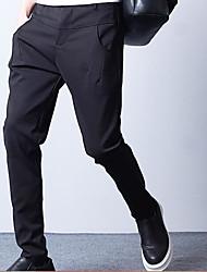 Masculino Simples Cintura Alta Com Elástico Chinos Calças,Solto Cor Única