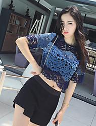 2017 Frauen&# 39; s Sommer kurzärmelige Spitze Jacke war dünne kurze Punkt koreanische Version von Openwork Spitze Shirt