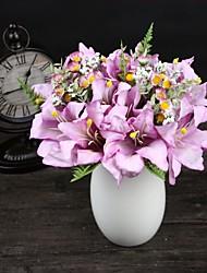 1 Une succursale Polyester Plastique Lis Fleur de Table Fleurs artificielles 33