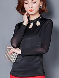 подписать новый рубашка женская корейский тонкий тонкий полый с длинными рукавами рубашки воротник рубашки