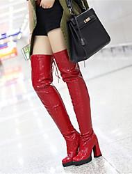 Красный-Для женщин-Повседневный-Полиуретан-На танкетке-Туфли Мери-Джейн-Ботинки
