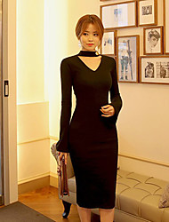 2017 Autumn women's fashion V-neck ladies Slim speaker sleeve package hip dress dress
