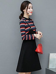 Spot early spring 2017 new long-sleeved striped fake two strap dress Slim waist skirt a word