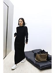 ya wir kleine Stehkragen eines Stück ultra-dünnes schwarzes Baumwollkleid und Knöchel