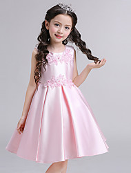 Ball Gown Short / Mini Flower Girl Dress - Cotton Satin Jewel with Appliques Bow(s) Pearl Detailing