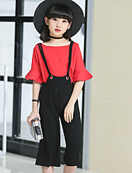 Girls' Going out Casual/Daily Holiday Solid Sets Cotton Summer Half Sleeve Ruffles Top Overalls Pant 2 Piece Clothing Set
