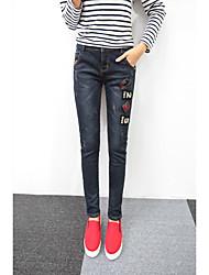 Signo jeans nueva versión coreana femenina era fino jeans bordados pies lápiz pantalones pantalones delgado collage