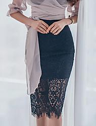 Femme Sexy Business / Cérémonie / Mariage Genou Jupes,Trapèze Couleur unie Couleur Pleine Eté