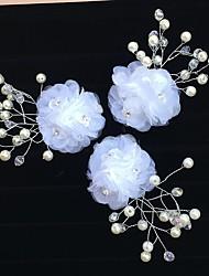 Tule Acrilíco Capacete-Casamento Ocasião Especial Flores Clip para o Cabelo Molas 3 Peças