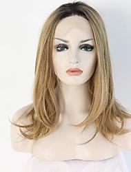Mujer Pelucas sintéticas Encaje Frontal Corto Liso Rubio dorado Raya en medio Raíces oscuras Entradas Naturales Corte Bob Peluca natural