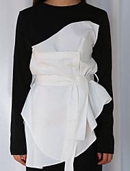 Mola nova chique de Coreia personalizou a camisa irregular do t-shirt da falsificação dois da cintura do laço
