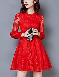 Women's Going out Vintage Skater Dress,Print Strap Midi Sleeveless Nylon Brown Spring Winter Mid Rise Inelastic