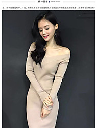 2016 Winter Women Slim sexy v-neck long-sleeved knit dress and long sections package hip bottoming dress