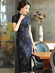 Women's Party Sheath Dress,Embroidered Shirt Collar Midi Short Sleeve Linen Spring High Rise Inelastic Medium