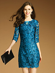 2017 new spring fashion embroidered dress child temperament ol elegant slim A-line skirt female
