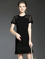 Damen Das kleine Schwarze Kleid-Urlaub Lässig/Alltäglich Party/Cocktail Einfach Street Schick Anspruchsvoll Solide Rundhalsausschnitt