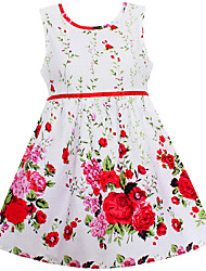 Girls Fashion Dress Red Flower Print Cotton Dresses Party Birthday Casual Wedding Kids Clothing