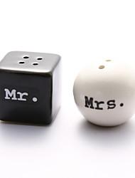 """""""Mr. & Mrs."""" Ceramic Salt & Pepper Shakers"""