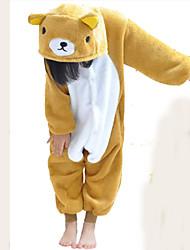 Kigurumi Pajamas Bear Leotard/Onesie Festival/Holiday Animal Sleepwear Halloween Patchwork Flannel Kigurumi For Kid Halloween