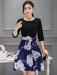 2017 primavera e verão mulheres novas da luva do laço grande&# 39; s moda slim foi vestido fino uma maré palavra