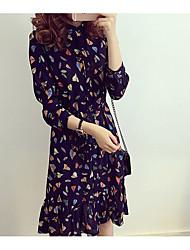 Mujer Gasa Vestido NocheEstampado Escote Chino Midi Manga Larga Rayón Primavera Tiro Medio Microelástico Medio
