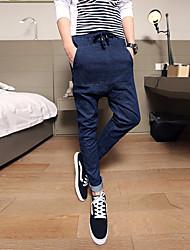 Masculino Simples Cintura Média Micro-Elástico Chinos Calças,Solto Cor Única