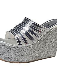 Damen-Sandalen-Outddor-PU-Keilabsatz-Komfort-Gold Schwarz Silber