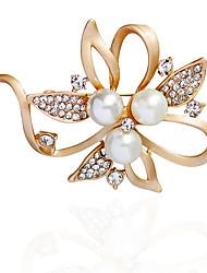 Women's Brooches Imitation Pearl RhinestoneBasic Unique Design Flower Style Natural Friendship Double Pearls Imitation Pearl Handmade