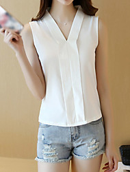Women's Plus Size Casual/Daily Simple Summer Shirt,Solid V Neck Sleeveless Polyester Medium