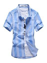 Для мужчин На каждый день Пляж Большие размеры Весна Лето Рубашка Рубашечный воротник,Простое Уличный стиль Активный Однотонный ПолоскиС