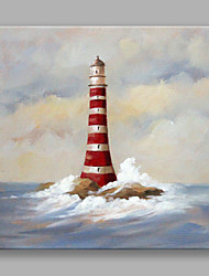 IARTS Hand Painted Modern Abstract Landscape Painting Red Lighthouse Art Acrylic Canvas Wall Art For Home Decoration