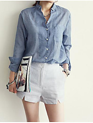 2015 spring and summer loose big yards ladies linen shirt cotton long-sleeved shirt female