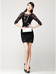 The new female autumn lace openwork lace dress sexy nightclub tight pack hip dress