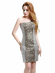 Cocktail Party Dress Trumpet / Mermaid One Shoulder Knee-length Sequined with Beading Sequins