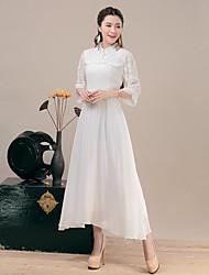 Feminino Evasê Vestido,Para Noite Casual Sólido Jacquard Colarinho Chinês Longo Manga ¾ Poliéster Primavera Verão Cintura Média