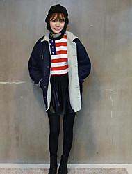 Inverno coreano versão plus veludo grossa faculdade vento cordeiros lã denim bolso solto mulheres jaqueta de algodão