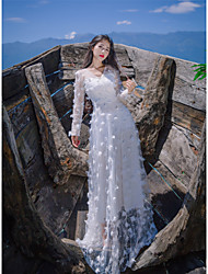 Women's Beach Shift Dress,Solid V Neck Maxi Long Sleeve Silk Summer Mid Rise Micro-elastic Thin