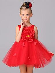 Ball Gown Short / Mini Flower Girl Dress - Cotton Satin Tulle Sleeveless Jewel with Bow(s) Crystal Detailing Flower(s) Sash / Ribbon