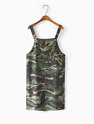 Sign spring new loose wild personality camouflage long denim dress strap dress women
